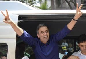 Aecio votou, neste domingo, em Belo Horizonte Foto: Eugenio Savio / AP