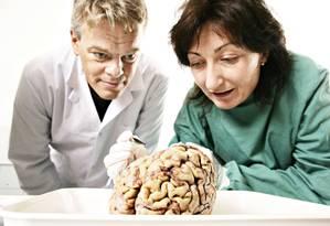 Os noruegueses May-Britt Moser and Edvard I Moser estudam um cérebro humano no Instituto Kavli da Universidade de Ciência e Tecnologia da Noruega Foto: GEIR MOGEN / AFP