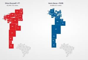 Gráfico mostra expressão dos presidenciáveis nos estados Foto: O Globo