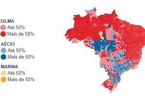 A votação nacional dos três principais candidatos pelo Brasil Foto: O Globo