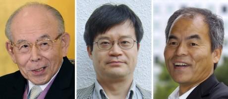 Isamu Akasaki, 85, professor da Universidade de Meijo; Hiroshi Amano, 54, professor da Universidade de Nagoya e Shuji Nakamura, 60, da Universidade da Califórnia em Santa Barbara ganharam o Nobel de Física pela invenção de lâmpadas LED azuis Foto: AP