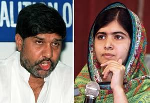 Ativista indiano Kailash Satyarthi e ativista paquistanesa Malala Yousafzai ganha Nobel da Paz 2014 Foto: RAVI RAVEENDRAN/WOLE EMMANUEL / AFP