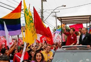A presidente Dilma Rousseff em ato de campanha no Conjunto Habitacional Guajuviras, em Canoas Foto: Ichiro Guerra / O GLOBO
