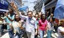 Crivella participou de agenda em Duque de Caxias, com as deputadas eleitas Rosângela Gomes (de rosa) e Tia Ju (de azul) Foto: Fabio Rossi