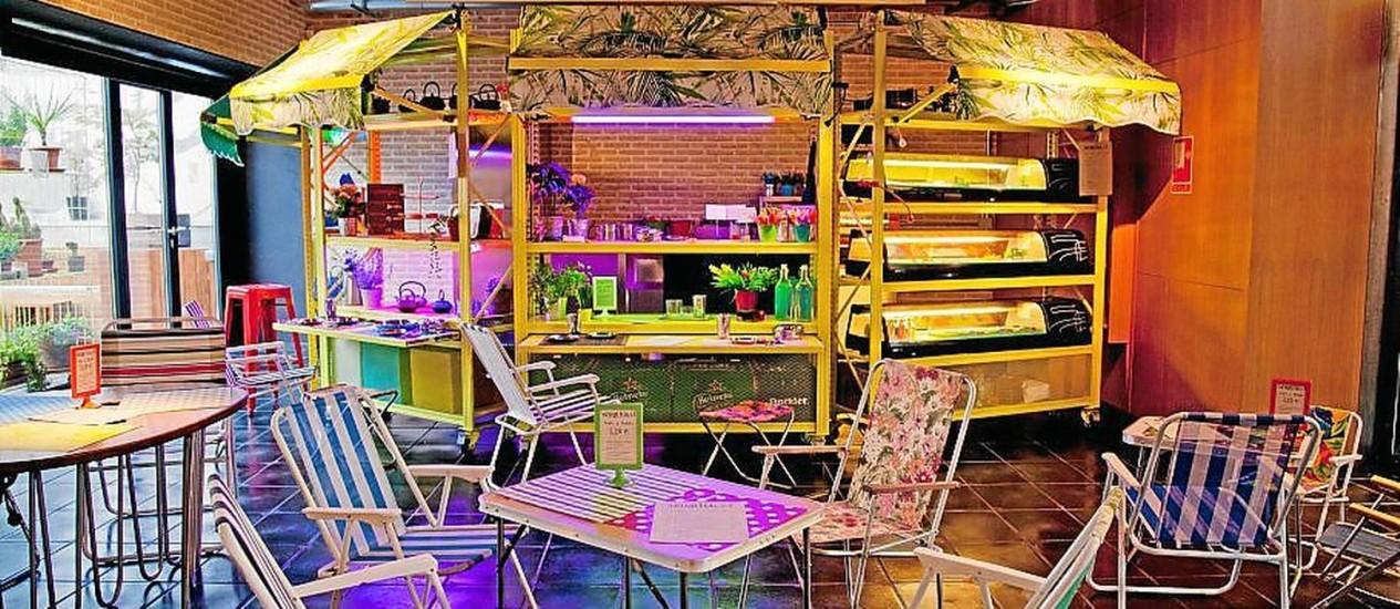 O despojado restaurante Trinkhalle, referência em cardápio sem glúten em Madri Foto: Divulgação