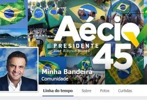 Site pede arrecação em nome da coligação de Aécio Neves Foto: Reprodução
