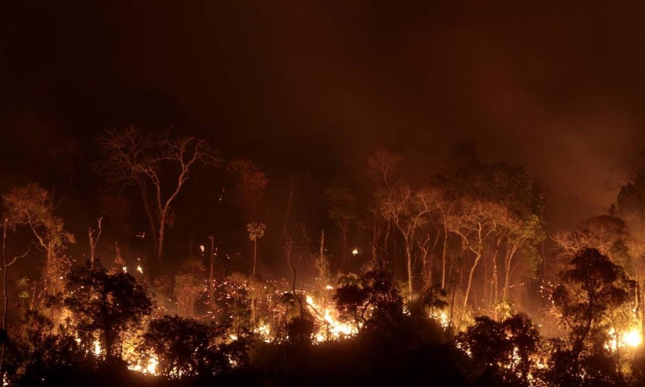 Chamas já consumiram 300 hectares do parque nacional Foto: Pedro Kirilos / Agência O Globo