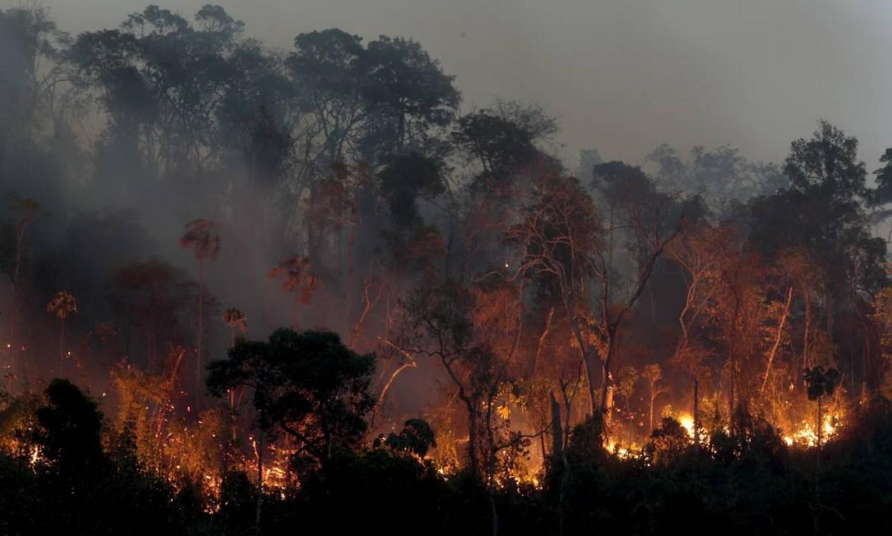 Equipes tentam controlar fogo no parque desde segunda-feira Foto: Pedro Kirilos / Agência O Globo