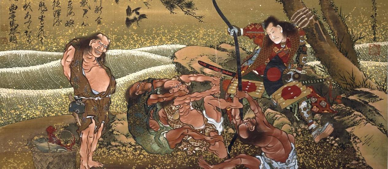 Luta. 'Tametomo dans l'île' ('Tametomo na ilha'), de 1811: para curador, Hokusai é um 'pai parcial' do mangá Foto: BRITISH MUSEUM / RÈunion des MusÈes Nationaux