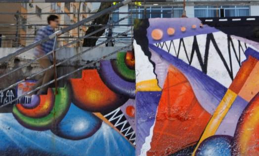 Grafite do artista Justin Phame na orla do Ingá Foto: Gustavo Stephan / Agência O Globo