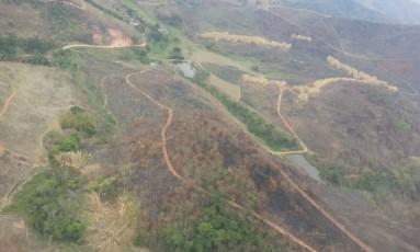Área atigida pelas chamas em Petrópolis Foto: Divulgação/Bombeiros