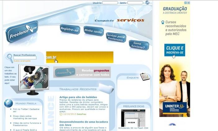 Site ajuda na comunicação entre as empresas e freelas Foto: Reprodução