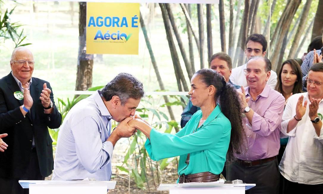 Marina Silva no evento em que declarou apoio a Aécio Foto: Divulgação / Arquivo