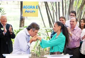 Marina Silva vai pedir votos para Aécio em um programa eleitoral de TV, que começa a ser veiculado nesta quarta-feira Foto: Marcos Fernandes / Coligação Muda Brasil