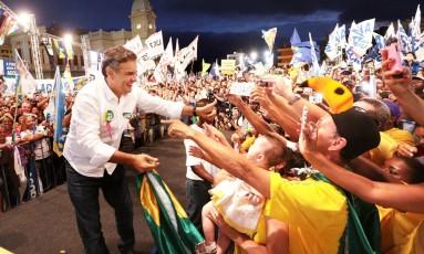 Em comício em Belo Horizonte, Aécio Neves afirmou que sua maior vitória será em Minas Gerais Foto: Orlando Brito / Coligação Muda Brasil