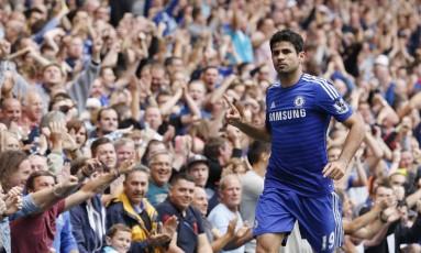 Diego Costa tem nove gols em nove jogos com a camisa do Chelsea Foto: JUSTIN TALLIS / AFP