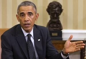 Barack Obama em discurso na Casa Branca Foto: Jacquelyn Martin / AP