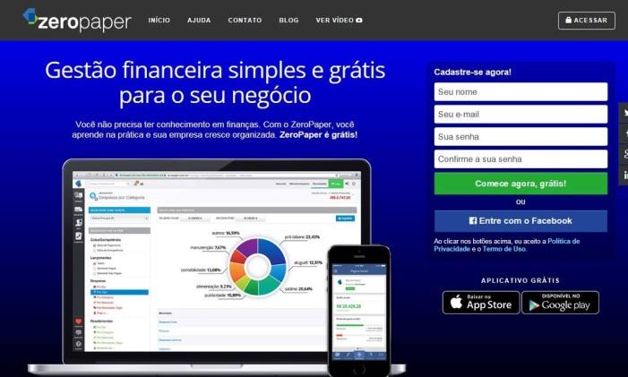 Com a ferramenta ZeroPaper, além de administrar despesas e receitas, o empreendedor pode receber dicas de educação financeira Foto: Reprodução