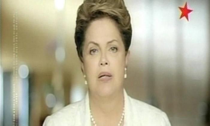 Dilma em programa na TV que irá acionar Justiça Foto: Reprodução TV