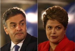 Aécio Neves e Dilma Rousseff conversam com imprensa após debate na TV GLOBO Foto: Agência O Globo / Marcelo Carnaval/Alexandre Cassiano