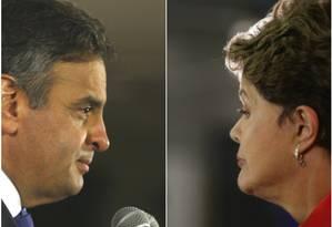 Aécio Neves (PSDB) e Dilma Rousseff (PT) voltam a se enfrentar nas urnas Foto: Agência O Globo / Marcelo Carnaval