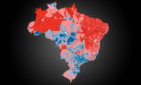 Mapa mostra onde Dilma e Aécio tiveram domínio na votação Foto: Arte O Globo