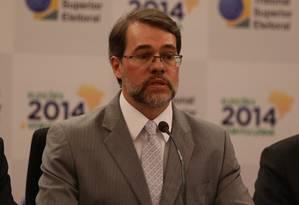 O Presidente do TSE, ministro Dias Toffolí, em pronunciamento durante a divulgação do resultado das eleições Foto: Ailton de Freitas / O Globo