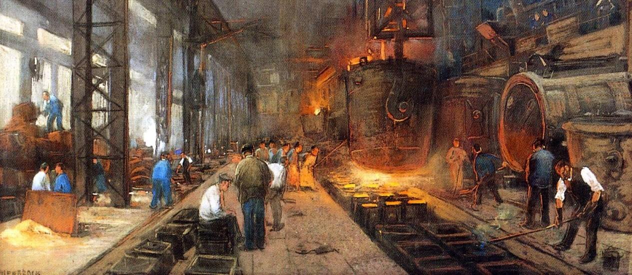 """Quadro """"Electro steelmelter"""", de Herman Heyenbrock, pintor conhecido por retratar a vida nas fábricas Foto: Reprodução"""