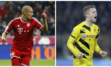 Robben e Reus: clássico na Alemanha entre Bayern de Munique e Borussia Dortmund Foto: Reuters e AP