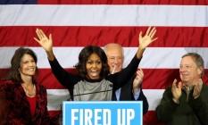 Michelle Obama em comício: inflamando a multidão Foto: John Schultz / AP