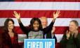 Michelle Obama em comício: inflamando a multidão