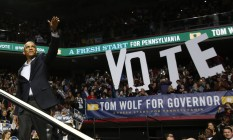 O presidente Obama participa da campanha de meio de mandato deste ano. Em 2016, será a sucessão dele Foto: Larry Downing / Reuters