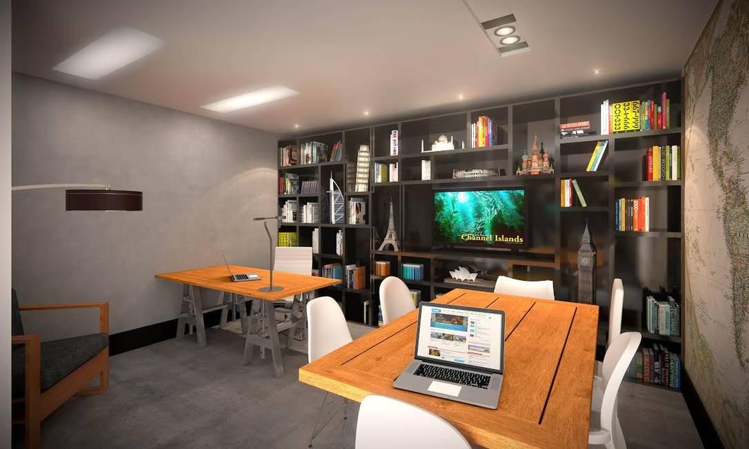 Entre as áreas de uso comum, construtoras apostam em áreas de home office, uma espécie de escritório compartilhado Foto: Divulgação Leduca