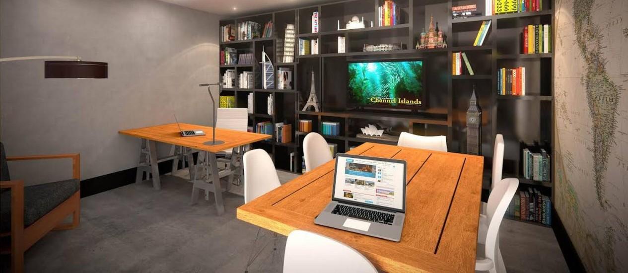 Entre as áreas de uso comum, construtoras apostam em áreas de home office, uma espécie de escritório compartilhadoFoto: Divulgação Leduca
