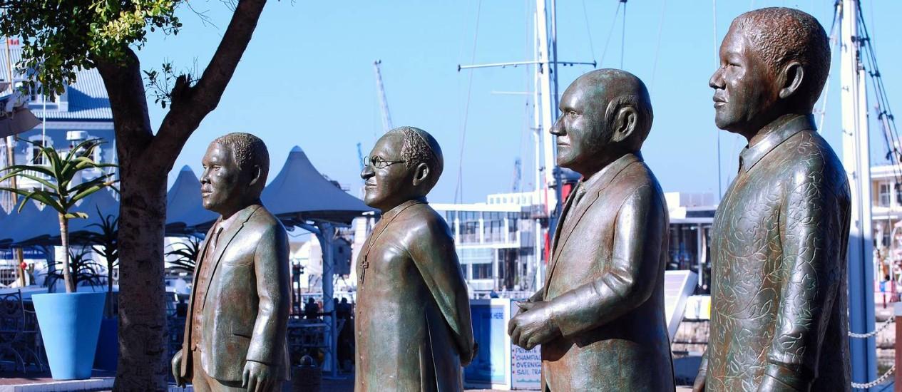 Os quatro sul-africanos premiados com o Nobel da Paz Foto: Harvey Barrison / Divulgação/South Africa Tourism