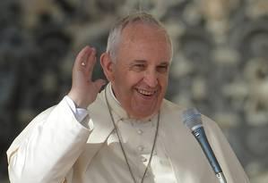 Papa Franscico faz o seu discurso semanal na Praça de São Pedro, no Vaticano Foto: ALBERTO PIZZOLI / AFP