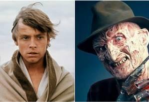 Mark Hamill como Luke Skywalker e Robert Englund caracterizado como Freddy Krueger Foto: Divulgação