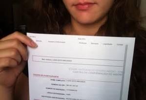 Candidata do Enem, Luíza Goto Machado ainda não sabe local de sua prova Foto: Arquivo pessoal