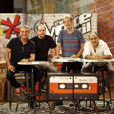 Produtores musicais do 'The Voice Brasil': Alexandre Castilho, Vinícius Rosa, Marcelo Sussekind e Torcuato Mariano Foto: Gustavo Stephan