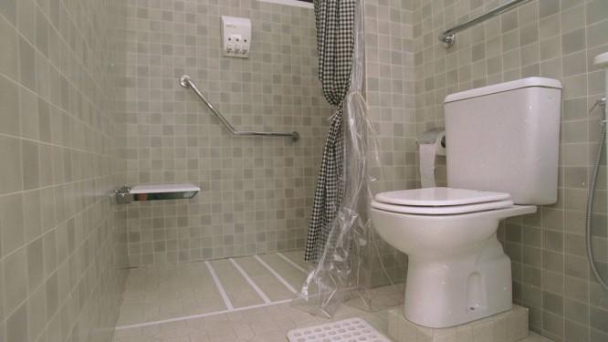 Banheiro ideal para evitar acidentes domésticos tem vaso sanitário mais alto, barras de apoio e banco no boxe, além de piso com fitas antiderrapantes Foto: Marizilda Cruppe