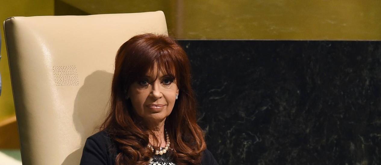 A presidente argentina, Cristina Fernandez de Kirchner, durante sessão da ONU em setembro Foto: JEWEL SAMAD / AFP
