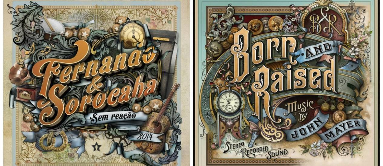 Capas de 'Sem reação', de Fernando & Sorocaba, e 'Born and raised', de John Mayer Foto: Divulgação
