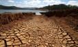 A seca no Rio Atibainha, no sistema Cantareira, em SP: nível da água diminuiu de novo