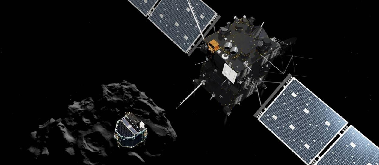 Ilustração simulada da Agência Espacial Europeia mostra módulo Philae separando-se da sonda Rosseta e iniciando pouso no cometa 67P/Churyumov-Gerasimenko Foto: AP