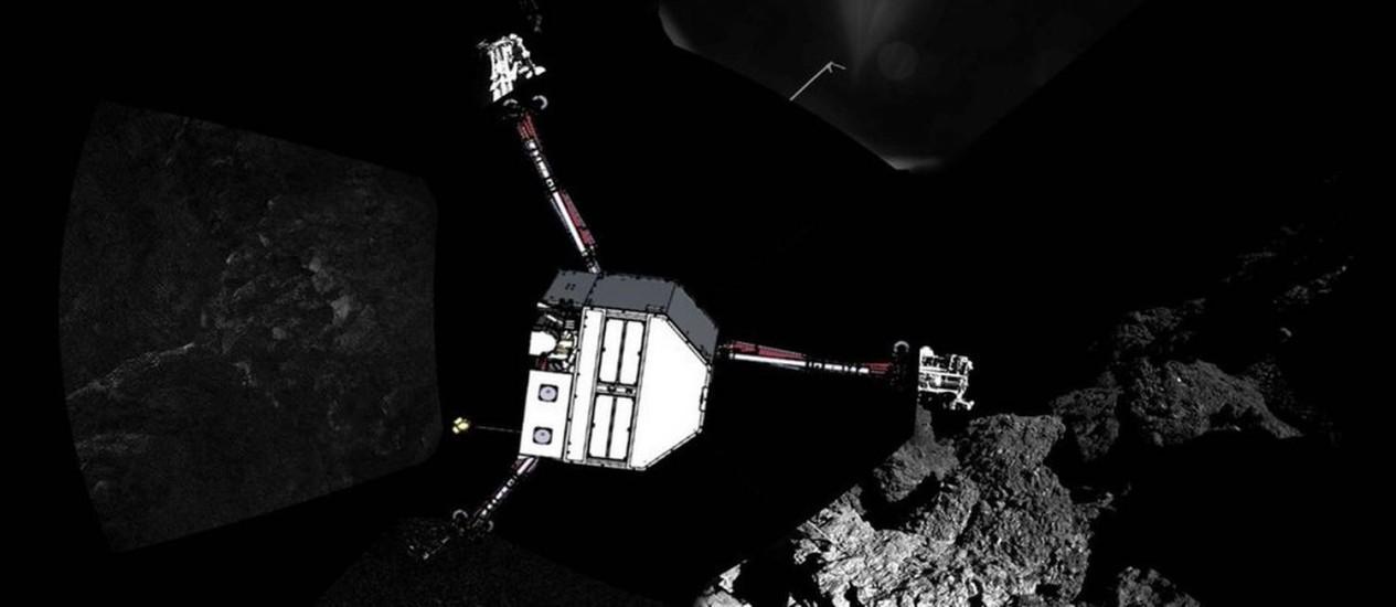 Mosaico de imagens divulgado pela Agência Espacial Europeia mostra uma panorâmica do local de pouso do módulo Philae (inserido em ilustração) no cometa 67P/Churyumov-Gerasimenko Foto: ESA