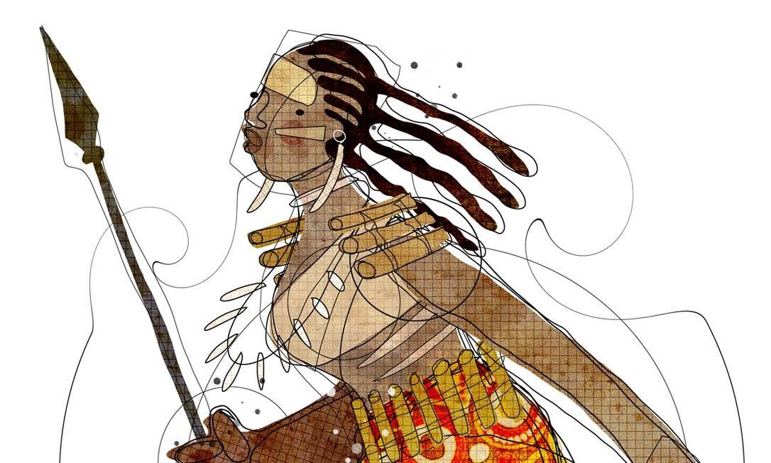 Ilustração retrata Dandara dos Palmares Foto: Editoria de Arte