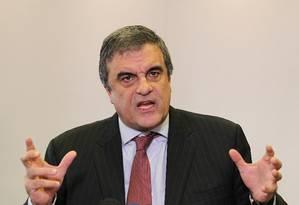 O ministro da Justiça durante a entrevista coletiva Foto: Michel Filho / Agência O Globo