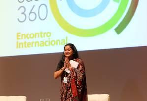 Boa esperança. A educadora indiana Shukla Bose na conferência de abertura Foto: Guilherme Pinto / Guilherme Pinto/5-9-2014