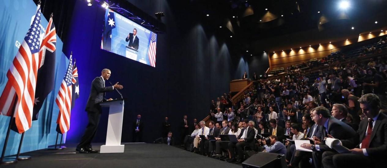 Barack Obama em discurso no encontro do G-20: presidente americano insistiu na volta negociações para a abertura do comércio mundial Foto: Reuters