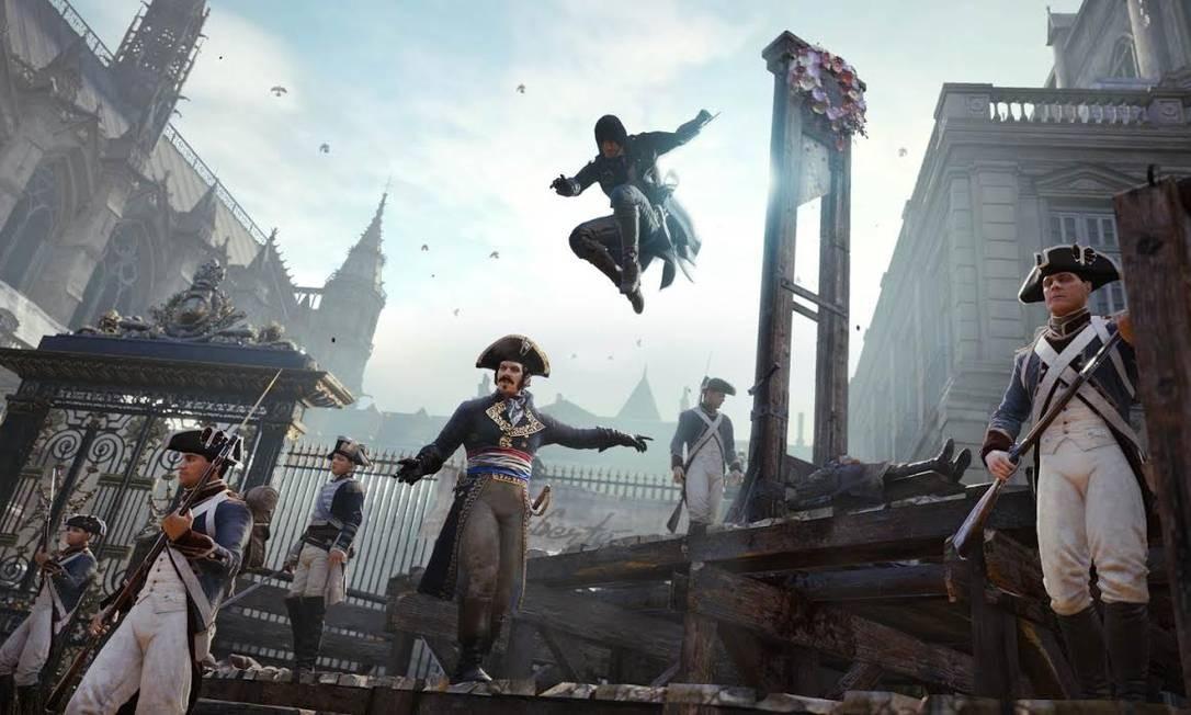 """Cena de """"Assassin's Creed: Unity"""": ambientado na Revolução Francesa, título vem causando polêmica na França Foto: / Divulgação"""